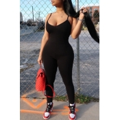 lovely Casual Spaghetti Strap Black One-piece Jumpsuit