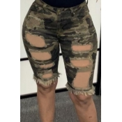 lovely Casual Camo Print Army Green Denim Shorts