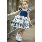 lovely Sweet Patchwork Deep Blue Girl Knee Length