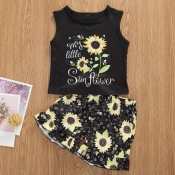lovely Stylish Print Black Girl Two-piece Shorts S