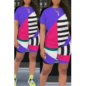 Lovely Leisure Color-lump Patchwork Purple Two-piece Shorts Set