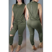 Lovely Casual Hollow-out Green One-piece Jumpsuit