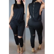 Lovely Casual Hollow-out Black One-piece Jumpsuit