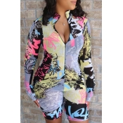 lovely Stylish Print Pink One-piece Romper