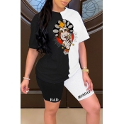 lovely Casual Print Patchwork Black Two-piece Shor