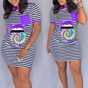 lovely Casual O Neck Striped Print Purple Mini T-s