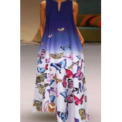 lovely Casual V Neck Butterfly Print Blue Ankle Le