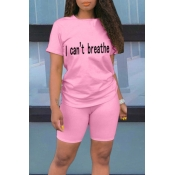 lovely Leisure Letter Print Pink Two-piece Shorts