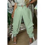 lovely Casual High-waisted Zipper Light Green Pant