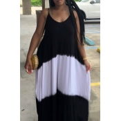Lovely Casual Spaghetti Strap Patchwork Black Maxi