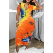 Lovely Casual V Neck Tie-dye Ankle Length Dress