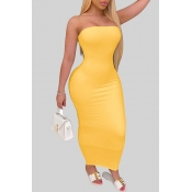 lovely Trendy Dew Shoulder Yellow Ankle Length Dress
