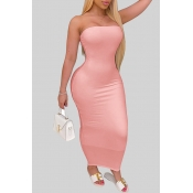 lovely Trendy Dew Shoulder Pink Ankle Length Dress