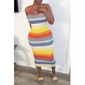 lovely Sexy Rainbow Striped Orange Mid Calf Dress