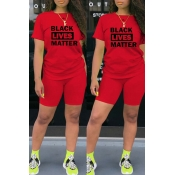 lovely Casual Letter Print Red Two-piece Shorts Set