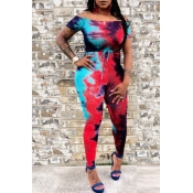 Lovely Casual Tie-dye Red Plus Size One-piece Jump
