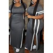 lovely Leisure Side Slit Grey Maxi Plus Size Dress