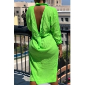 lovely Stylish Backless Green Knee Length Plus Siz