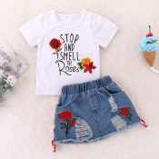 lovely Casual Letter Print White Girl Two-piece Skirt Set