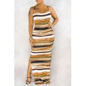 lovely Casual Striped CrociMaxi Dress