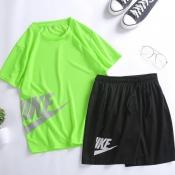 Lovely Sportswear Letter Green Two-piece Shorts Se