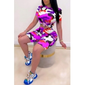 Lovely Casual O Neck Camo Print Purple Two-piece Shorts Set