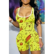 lovely Casual U Neck Print Yellow One-piece Romper