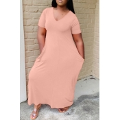 lovely Casual V Neck Basic Pink Ankle Length Plus Size Dress