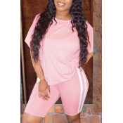 lovely Sportswear Patchwork Pink Two-piece Shorts