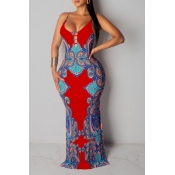 Lovely Sexy Spaghetti Strap Print Backless Red Plu