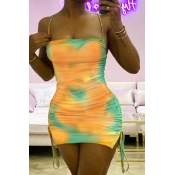 lovely Sexy Spaghetti Strap Tie-dye Lace-up Yellow