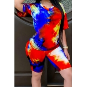 Lovely Casual Tie Dye Red Two Piece Shorts Set