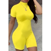 lovely Leisure Basic Skinny Yellow One-piece Romper