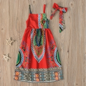 lovely Trendy Spaghetti Strap Print Maxi Girls Dress