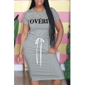 Lovely Casual Letter Print Grey Knee Length Dress