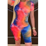 lovely Casual Tie-dye Jacinth Two-piece Shorts Set