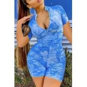 lovely Stylish Tie-dye Blue One-piece Romper