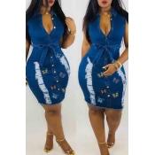 lovely Stylish Butterfly Blue Mini Denim Dress