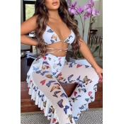 lovely Butterfly Print White Cover-up(Two-piece)
