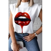 lovely Casual Lip Print Wine Red Blouse