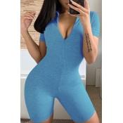 lovely Sportswear Zipper Design BlueOne-piece Rom