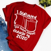 lovely Leisure O Neck Letter Print Red T-shirt