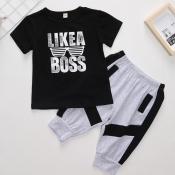 lovely Casual Letter Print Black Boy Two-piece Pants Set