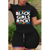 Lovely Leisure Letter Print Black Plus Size Two-pi