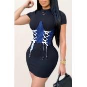 Lovely Trendy Bandage Design Black Mini Dress