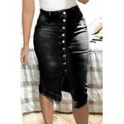 lovely Trendy Buttons Design Black Denim Skirt