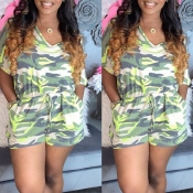 lovely Casual Camo Print Army Green One-piece Romp