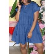 lovely Sweet O Neck Fold Design Deep Blue Mini Den