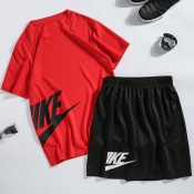 Lovely Sportswear Letter Red Two-piece Shorts Set