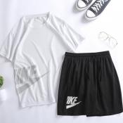 Lovely Sportswear Letter White Two-piece Shorts Set